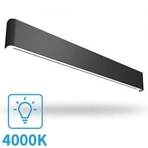 Aipsun 43.3in/40W Black LED Vanity Light Modern Black Vanity Light Fixtures LED Black Bathroom Wall Light Up and Down Bathroom Lighting Fixtures Neutral White 4000K