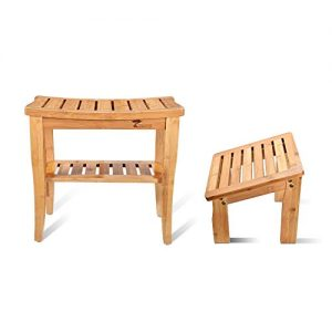 ToiletTree Products Deluxe Wooden Bamboo Shower Seat Bench with Underneath Storage Shelf (Seat with Foot Stool)