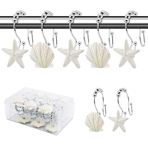 BEAVO Seashell Shower Curtain Hooks,12 Pcs Double Roller Glide Rust-Resistant Stainless Steel Decorative Shower Curtain Rings for Bathroom, Baby Room, Bedroom, Living Room Decor (White)