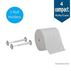 Compact Angel Soft Toilet Paper Holder Starter Kit by GP PRO (Georgia-Pacific), 50015, Includes 2 Gray Holders (50012) & 4 Compact Angel Soft Rolls (19371)