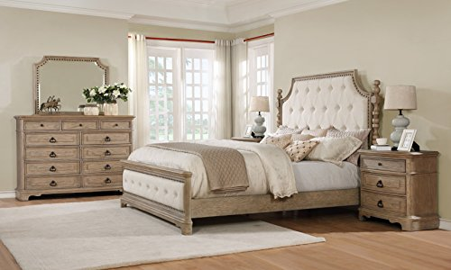 Roundhill Furniture Piraeus 296 Solid Wood Construction Bedroom Set with King Size Bed, Dresser, Mirror and 2 Night Stands,