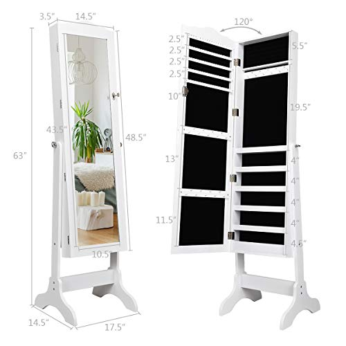 Giantex Jewelry Cabinet Armoire Lockable with Mirror Giantex Jewelry Cabinet Armoire Lockable with Mirror, Classic Full Length Mirrored Organizer Storage Box for Bedroom Necklace Free Floor Standing Multiple Shelves, Jewelry Armories Cabinets.