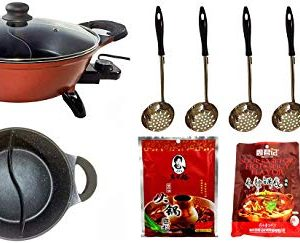 Deluxe 4-Liter Hot Pot Starter Kit with Non-stick Divided Pot for Asian Hot Pot, Mongolian Hot Pot, Japanese Shabu-Shabu. Includes Hot Pot, Strainers, Chopsticks & Seasoning Packets