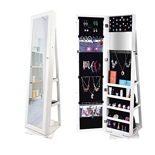 Bonnlo Jewelry Armoire with 360 Rotation Base, 57 x 10 inch Mirror, Freestanding, Cosmetic Storage