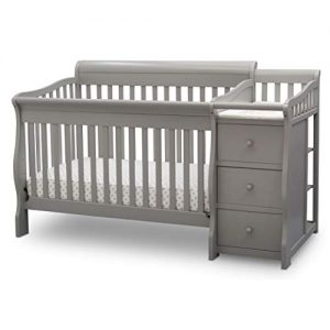 Delta Children Princeton Junction Convertible Crib and Changer, Grey