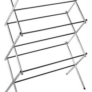 Whitmor 11-Bar Folding Clothes Top Shelf-Indoor and Outdoor-Chrome Drying Rack, 9 Hanging