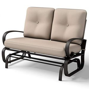 Giantex Loveseat Outdoor Patio Rocking Glider Cushioned 2 Seats