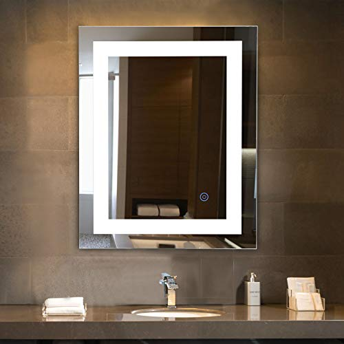 CO-Z Dimmable Rectangle LED Bathroom Mirror, Plug-in Modern Lighted Wall Mounted Mirror with Lights&Dimmer, Contemporary Fogless Light Up Backlit Touch Vanity Cosmetic Bathroom Mirror Over Sink