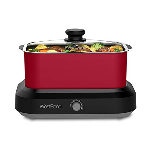 West Bend 87905R Large Capacity Non-Stick Versatility Slow Cooker with 5 Different Temperature Control Settings Dishwasher Safe, 5-Quart, Red