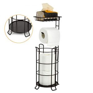 [Upgrade] Toilet Paper Holder Stand Bathroom Tissue Holders Free Standing with Top Shelf Storage Mega Rolls/Phone/Wipe-Bronze