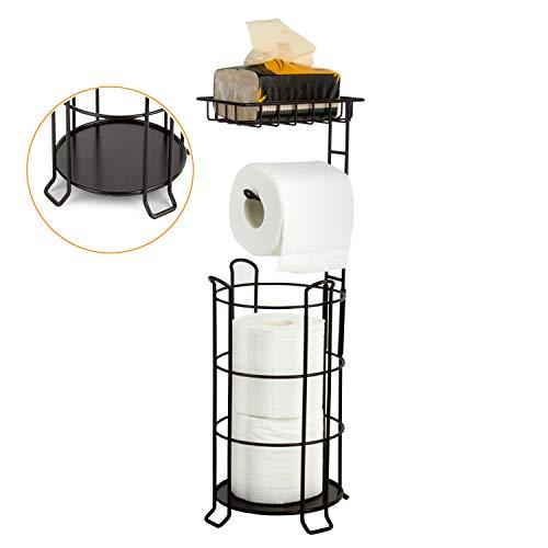 [Upgrade] Toilet Paper Holder Stand Bathroom Tissue Holders Free Standing with Top Shelf Storage Mega Rolls/Phone/Wipe-Bronze