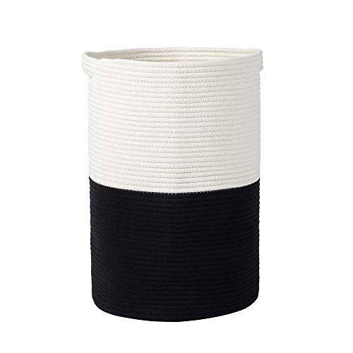 Tall Woven Laundry Hamper, Large Cotton Rope Basket with Handles Color Matching Diaper Storage Basket Laundry Bin for Blankets Comforter Cushions Clothes Toys, 13.8 x 13.8 x 20 inches, Black & White