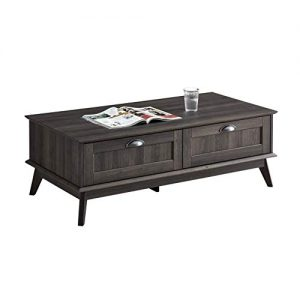 Newport Series Tall Center Coffee Table with Two Fully Extended Drawers | Sturdy and Stylish | Easy Assembly| Smoke Oak Wood Look Accent Living Room Home Furniture