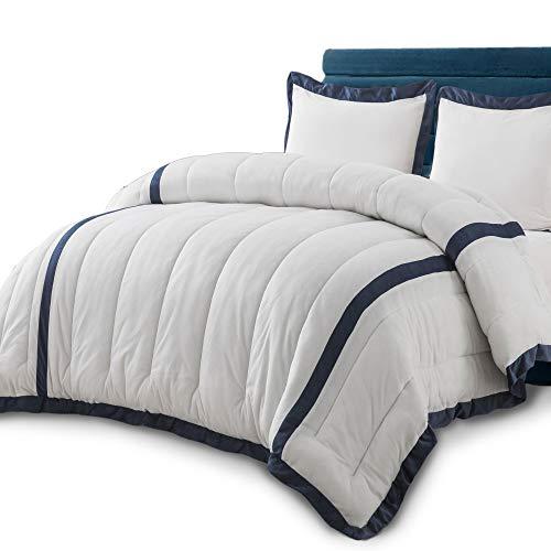 KASENTEX 3 Piece Luxury Down Alternative Comforter Set with Plush Microfiber Stripe Design, Reversible and Machine Washable, King with 2 King Shams, Daisy White