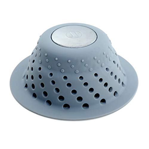SlipX Solutions Gray Dome Drain Protector Fits Over Drains to Prevent Clogs (Designed for Pop-Up Drains, Effective Hair Catcher, Silicone & Stainless Steel)