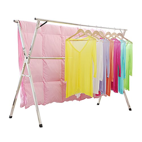 Clothes Drying Rack for Laundry Free Installed Space Saving Folding Hanger Rack Heavy Duty Stainless Steel