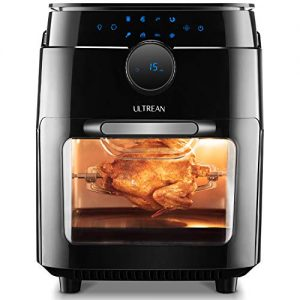 Ultrean 12.5 Quart Air Fryer Oven Combo, Rotisserie, Toaster Oven and Dehydrator with 8 Touch Screen Presets, Bonus Recipe Book and 8 Accessories Included, 12 Liter Family Size and UL Listed