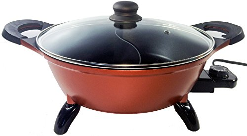 Deluxe Electric Shabu Shabu Hot Pot Electric Mongolian Hot Pot Cooker with Non-stick Divided Pot & Lid