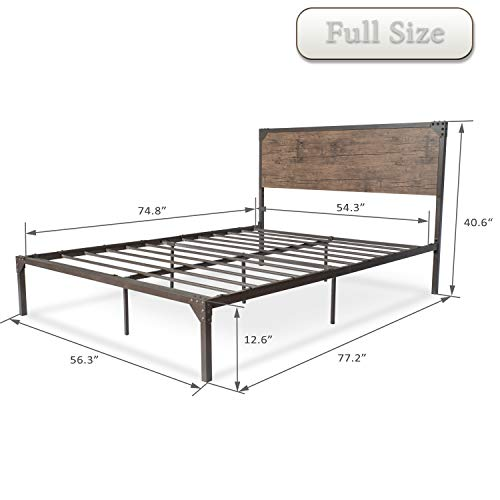 Amolife Industrial Full Size Bed Frame with Headboard/Metal Platform Bed Bundle Dimensions: 77.2 x 56.three x 41.zero inches