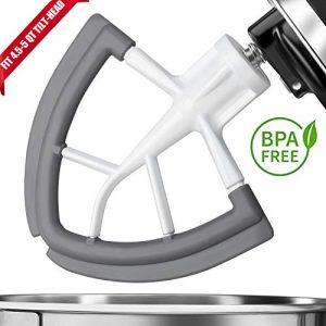 Flex Edge Beater For Kitchenaid,Kitchen Aid Mixer Accessory,Kitchen Aid Attachments For Mixer,Fits Tilt-Head Stand Mixer Bowls For 4.5-5 Quart Bowls,Beater With Silicone Edges,White