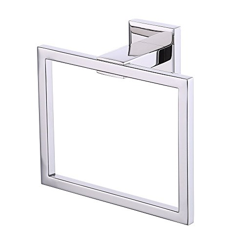 Greenspring SUS 304 Stainless Steel Bath Towel Holder Hand Towel Ring Hanging Towel Hanger Bathroom Accessories Contemporary Hotel Square Style Wall Mount Chrome Finish