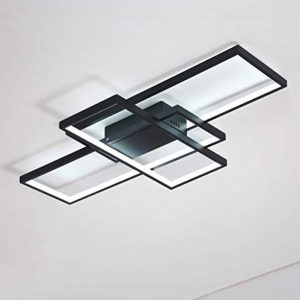 3-Light Acrylic Modern Ceiling Light for Livingroom Bedroom Kitchen Room Led Circle 3 Square Black Color Finish 3500K 4500K 6000K (Dimmable Version with Remote)