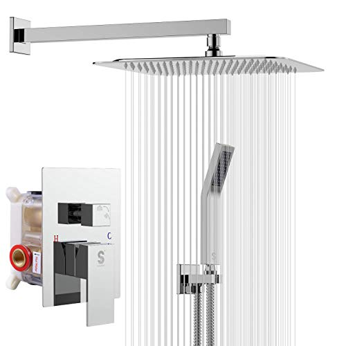 SR SUN RISE SRSH-D1203 12 Inches Bathroom Luxury Rain Mixer Shower Combo Set Wall Mounted Rainfall Shower Head System Polished Chrome Shower Faucet Rough-in Valve Body and Trim Included