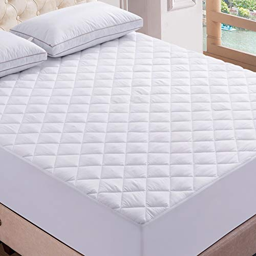 Lux Decor Premium Quilted Fitted Mattress Pad - Stretch-to-Fit Mattress Pad Cover - Stretches up to 16 Inches Deep - Hypoallergenic Cooling White Mattress Fitted Topper (1, King)