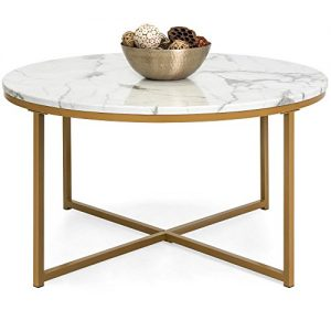 Best Choice Products 36in Faux Marble Modern Living Room Round Accent Side Coffee Table w/Metal Frame, White/Bronze Gold