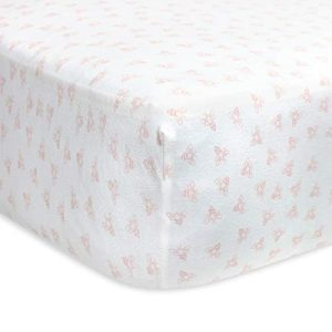 Burt's Bees Baby - Fitted Crib Sheet, Girls & Unisex 100% Organic Cotton Crib Sheet for Standard Crib and Toddler Mattresses (Blossom Pink Honeybee Print)