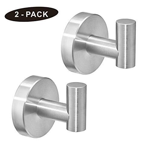 POKIM Brushed Nickel Towel Hook Stainless Steel Bathroom Rustproof Clothes Towel Robe Hook Wall Mounted( 2 Pack )