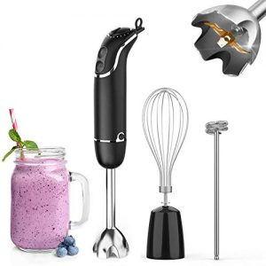KOIOS 800-Watt/ 12-Speed Immersion Hand Blender(Titanium Reinforced), Turbo for Finer Results, 3-in-1 Set Includes BPA-Free Food Chopper / Egg Beater /Milk Frother Ergonomic Grip, Detachable