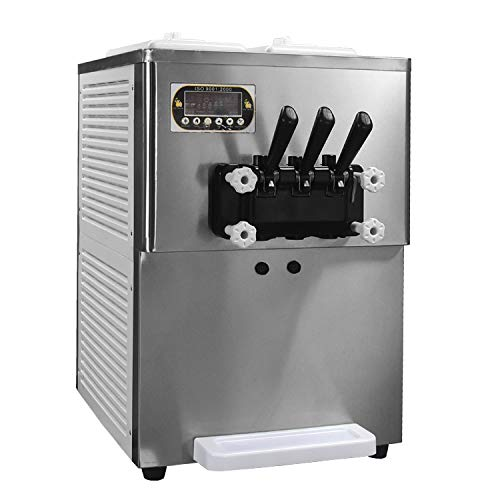 Kolice ETL Certificate Countertop yougurt 3 Flavors Soft Serve ice Cream Machine,Gear Box Inside,Upper Tanks refrigerated