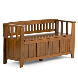 Simpli Home Acadian Solid Wood 48 inch Wide Rustic Entryway Storage Bench in Light Avalon Brown