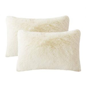 LIFEREVO 2 Pack Shaggy Plush Faux Fur Pillow Shams Fluffy Decorative Pillowcases Zipper Closure (Light Beige, King)
