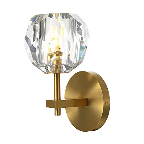Crystal Wall Light Brushed Brass Wall Sconce Mid Century Modern Gold Lighting Fixtures for Bedroom Bathroom
