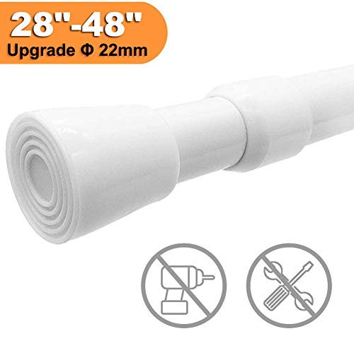 XIQIYY Spring Tension Curtain Rod 28 to 48 inches,Heavy Duty Tensions Rod Shower Tension Rods for Curtains,Kitchen, Bathroom, Cupboard, Wardrobe, Window(White)