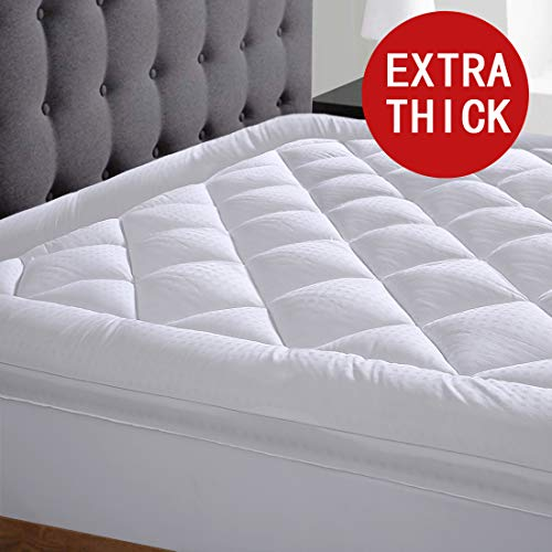 Edilly Queen Size Mattress Topper Cooling Extra Thick Mattress Pad Cover Pillow Top Construction 8-21 Deep Pocket Hypoallergenic Down Alternative Fill Breathable