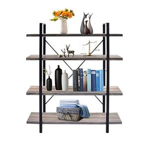 CharaVector Rustic Vintage Industrial Bookshelf, 4-TiersFit for Living Room Home or Office, Open Storage Bookshelf, Light Brown