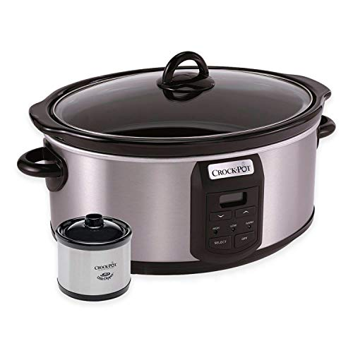 Crock-Pot 7-Quart Programmable Slow Cooker with Little Dipper Warmer, Stainless Steel