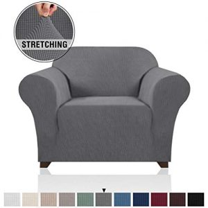 PrinceDeco Stretch Armchair Cover Chair Slipcover for Living Room Sofa Cover 1 Seater, Elastic Bottom Small Checks Jacquard Soft and Durable Chair Protectors Cover for Dogs/Pets/Kids (Chair, Grey)