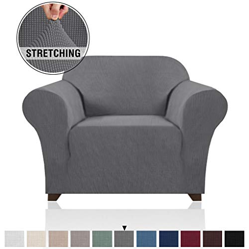 PrinceDeco Stretch Armchair Cover Chair Slipcover for Living Room Sofa Cover 1 Seater, Elastic Bottom Small Checks Jacquard Soft and Durable Chair Protectors Cover for Dogs/Pets/Kids (Chair,Grey)