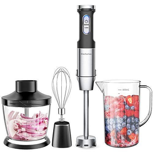 Elechomes 4-in-1 Hand Immersion Blender with 800W Powerful Motor, 304 Stainless Steel Stick Blender, Rich Accessories include Large 800ml Mixing Beaker and Egg Whisk, 500ml Food Chopper, Ergonomically Front Handle for Easy Use & Speed Control, BPA-Free