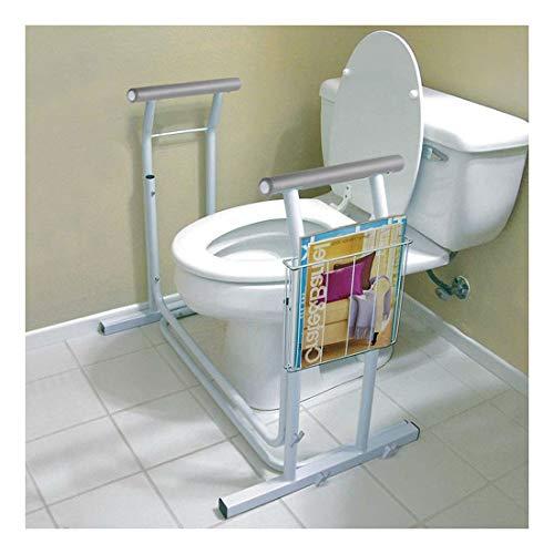 Stand Alone Toilet Safety Frame Rail Bar 375lbs Padded Handrail w/Magazine Rack
