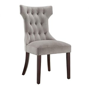 Dorel Living Clairborne Tufted Dining Chair (2 Pack), Taupe / Espresso