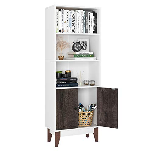 Homfa 4 Tier Bookcase Storage Cabinet, 64.2 in Height Wooden Bookshelf with 2 Doors and 3 Shelves, Free Standing Floor Side Display Cabinet Decor Furniture for Home Office, White and Wood Grain
