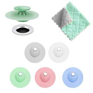 GNAWRISHING Silicone Drain Stopper (5 PCS) Bathroom Floor Drain Stopper Hair Catcher Drain Plug Filter Bathtub Stopper Drain Cover Strainer Shower Caddy with 1 Duster Cloth,Kitchen and Bathroom