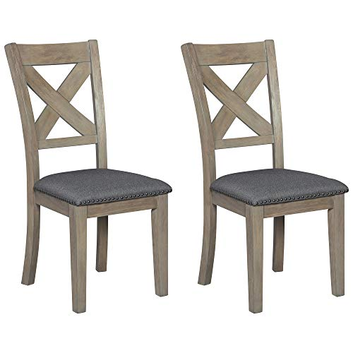 Signature Design by Ashley - Aldwin Dining Chairs - Cross Back - Set of 2 - Brown/Gray