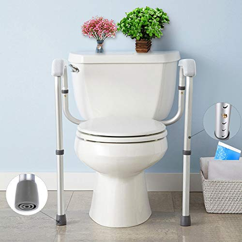 Stand Alone Toilet Safety Grab Rail Frame,Toilet Rail- with Adjustable Height for Toilet Assist,Toilet Safety Handrail Grab Bar for Elderly, Handicap and Disabled 374.8lbs Weight Capacity