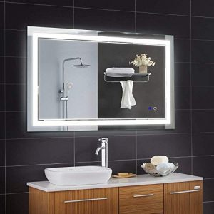 Keonjinn 40 x 24 Inch Anti-Fog Horizontal/Vertiacl Dimmable LED Bathroom Vanity Mirror Large Wall Makeup Mirror with Light